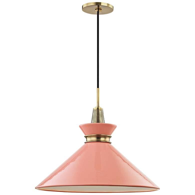 """Mitzi Kiki 18"""" Wide Aged Brass Pendant Light w/ Pink Shade"""