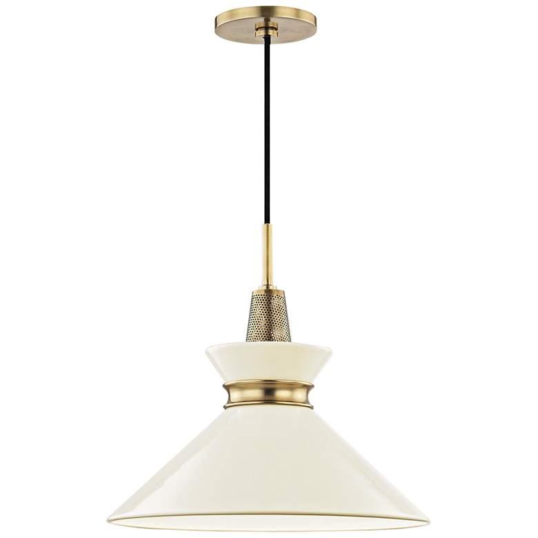 "Mitzi Kiki 14"" Wide Aged Brass Pendant Light w/ Cream Shade"