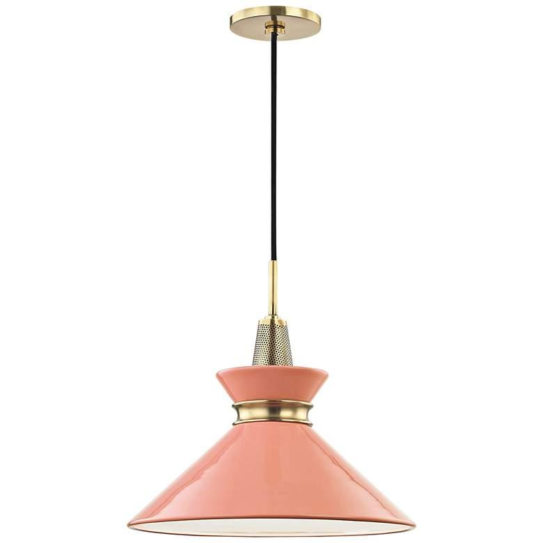 """Mitzi Kiki 14"""" Wide Aged Brass Pendant Light w/ Pink Shade"""
