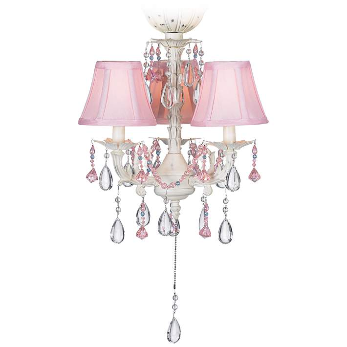 Pink Pull Chain 3 Light Led Ceiling Fan