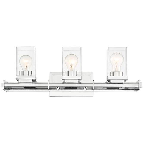 "Possini Euro Tribune 24"" Wide Chrome 3-Light Bath Light"