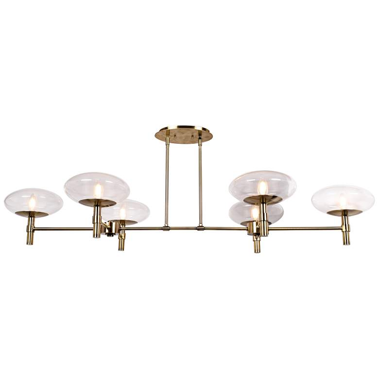 "Grand 56 1/4""W Brushed Brass 6-Light LED Island Chandelier"