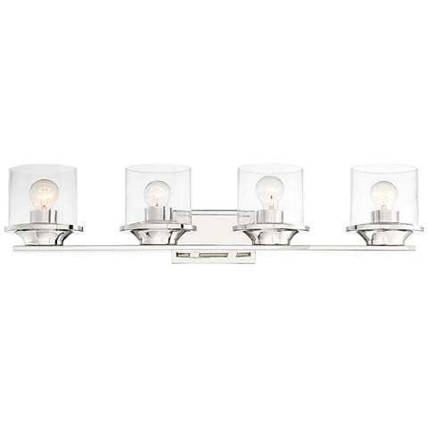 "Possini Euro Amalia 34""W Polished Nickel 4-Light Bath Light"