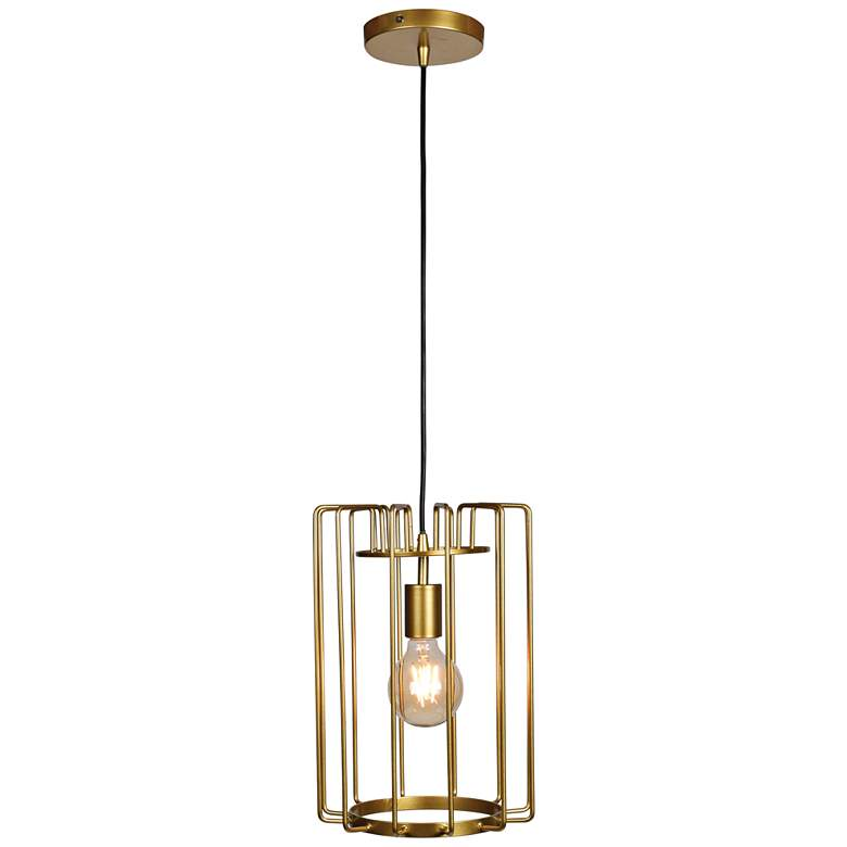 """Wired 9"""" Wide Gold LED Mini Pendant"""