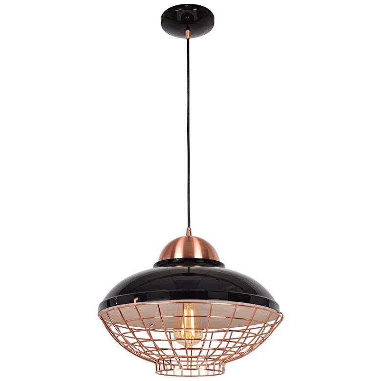 "Dive 15 1/4"" Wide Shiny Black and Copper LED Pendant Light"