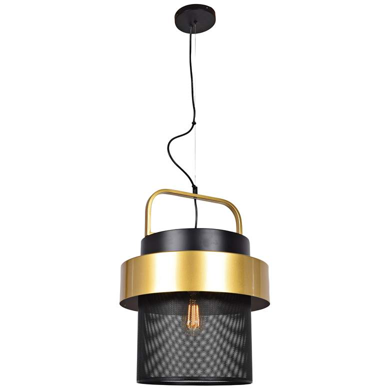 """Fusion 15 1/2"""" Wide Black and Gold LED Pendant Light"""