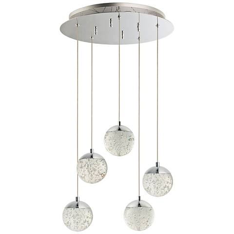 "ET2 Orb II 15 1/2""W Chrome 5-Light LED Multi Light Pendant"