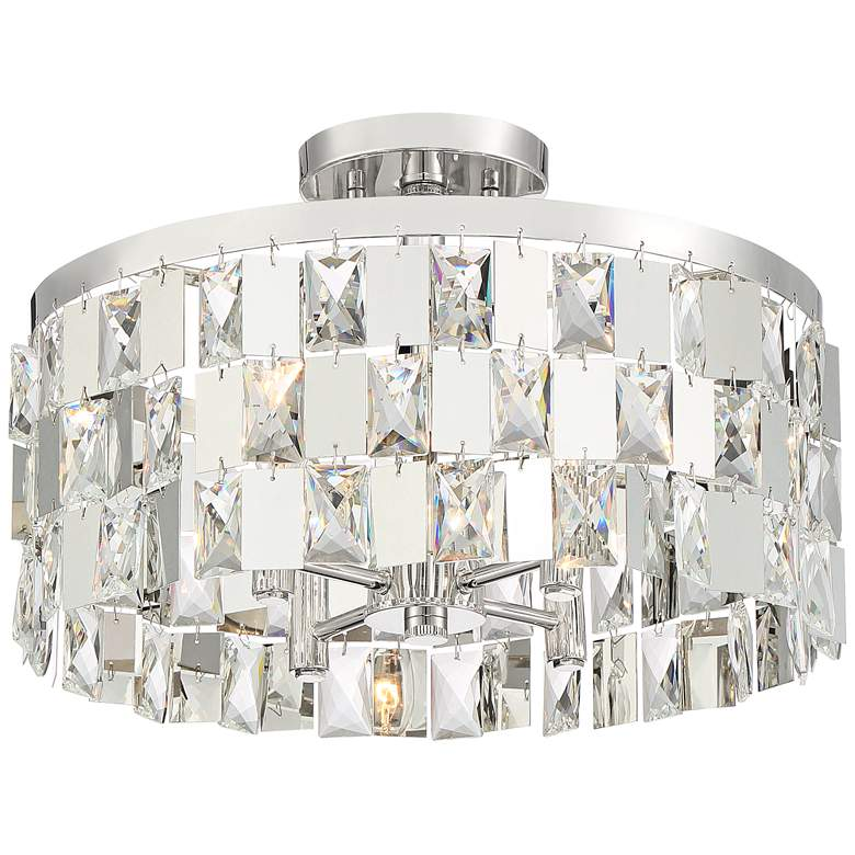 "Possini Euro Selena 16"" Wide Crystal Drum Ceiling Light"