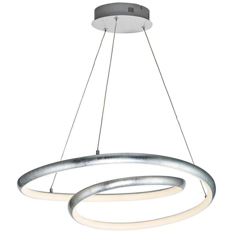 """Clover 23"""" Wide Silver Leaf LED Modern Pendant"""
