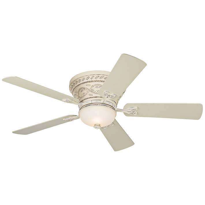 Casa Vieja 52 Ancestry Hugger Low Profile Ceiling Fan With Light Led Dimmable Remote Control French Rubbed White Frosted Glass For Living Room Kitchen Bedroom Dining Sanovide Com