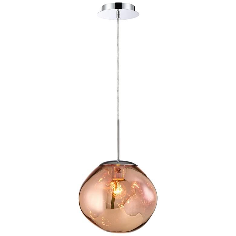 "Bankwell 10 1/2"" Wide Pearlized Copper Orb Mini Pendant"