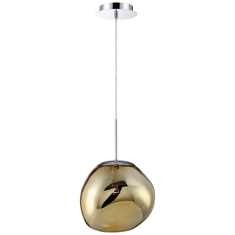 """Bankwell 10 1/2"""" Wide Pearlized Gold Orb Mini Pendant"""