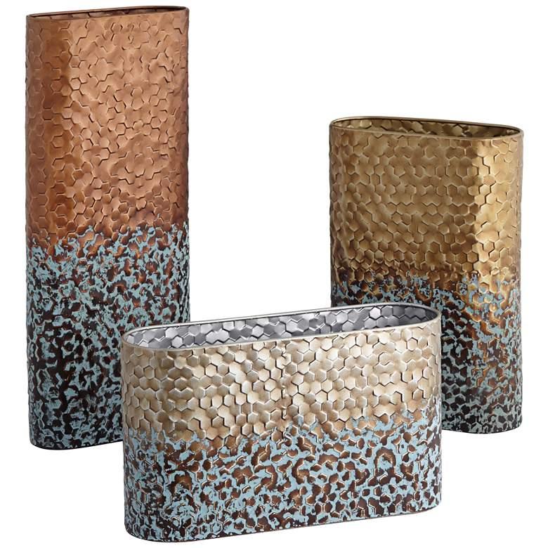 Calaveras Textured Two-Tone Rustic Vases Set of 3