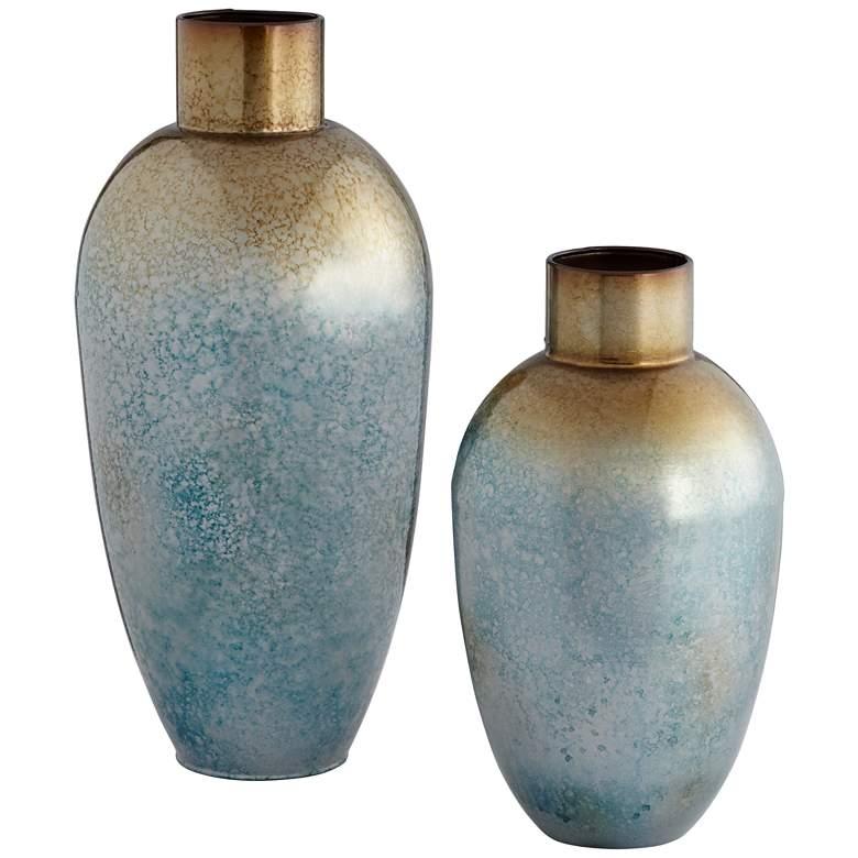 "Redding 17"" and 12 1/2"" High Blue Copper Modern Vases Set"