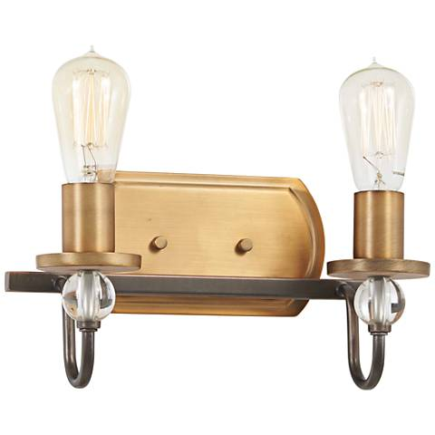 """Safra 10 1/2""""H Bronze and Brushed Brass 2-Light Wall Sconce"""