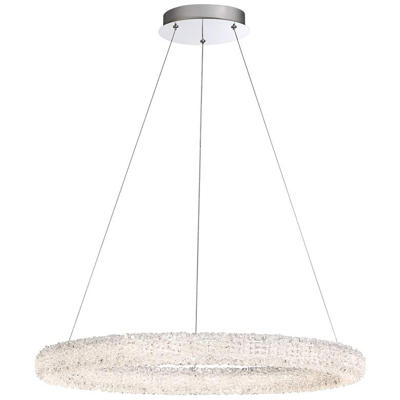 "Eurofase Sassi 27"" Wide Chrome Round LED Pendant Light"