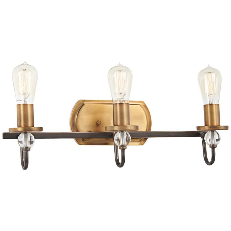 """Safra 21"""" Wide Bronze and Brushed Brass 3-Light Bath Light"""