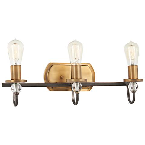 "Safra 21"" Wide Bronze and Brushed Brass 3-Light Bath Light"