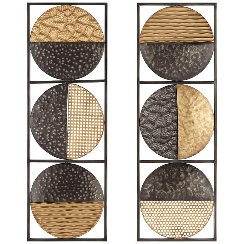 "Two-Tone Circles 35 1/2"" High Metal Wall Art Set of 2"
