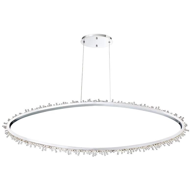 "Eurofase Scoppia 52 1/4""W Chrome LED Oval Ring Pendant Light"