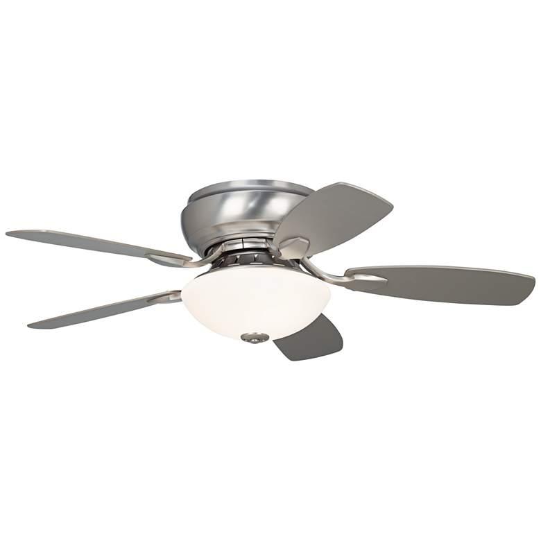 "44"" Casa Habitat™ LED Brushed Steel Hugger Ceiling Fan"