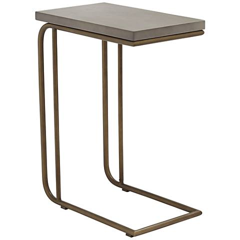 Lucius Gray Concrete and Antique Brass End Table