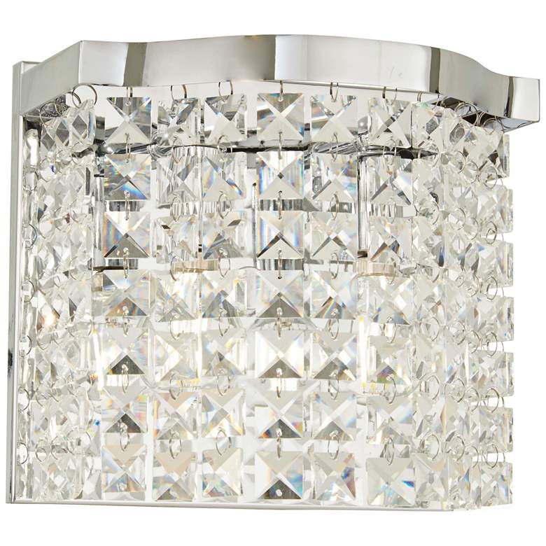 """Concentus 8 1/4"""" High Chrome and Crystal Wall Sconce"""
