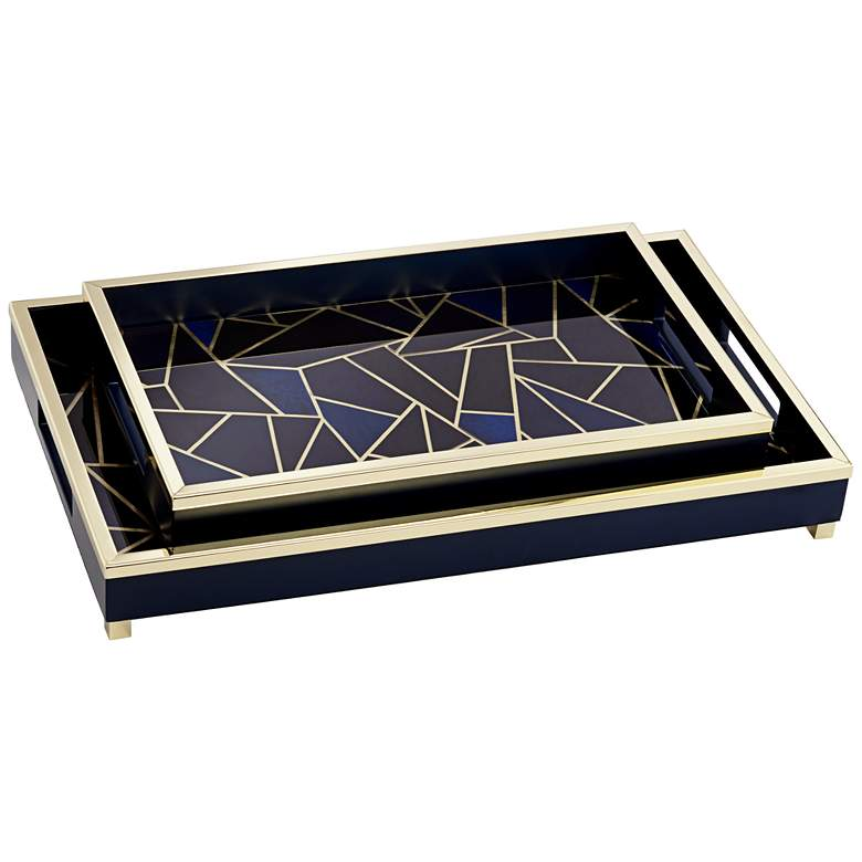 Weston Black and Blue Geometric Tray Set of 2