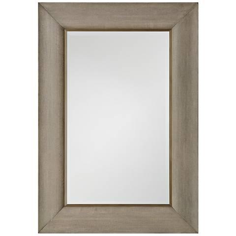 "Toile Linen Gray Glazed 36 1/2"" x 52 1/2"" Wall Mirror"