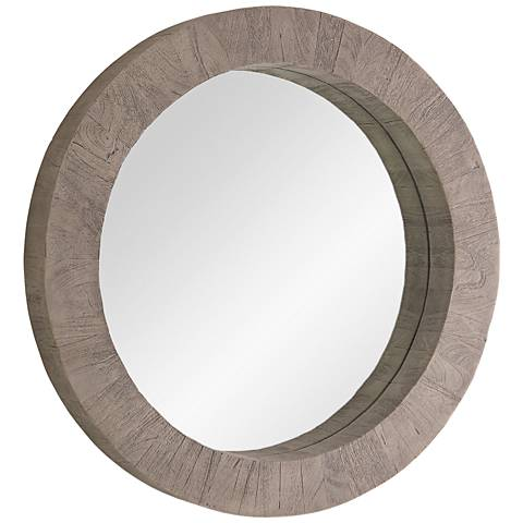 "Driftwood Gray 37"" Round Wall Mirror"