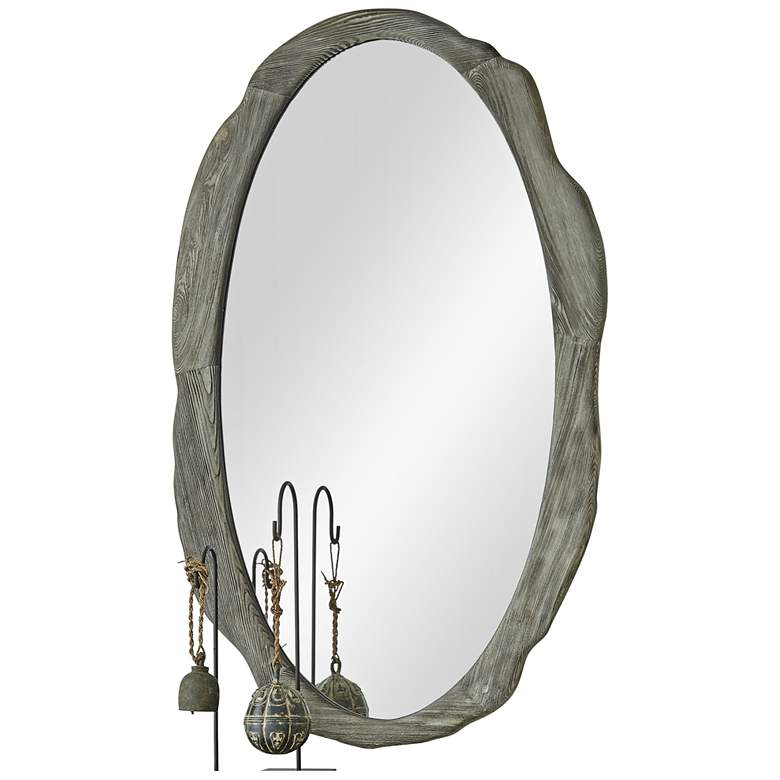 "Sherwood Antique Gray 30"" x 50"" Oval Wall Mirror"