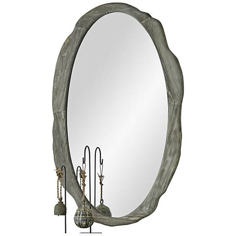 """Sherwood Antique Gray 30"""" x 50"""" Oval Wall Mirror"""