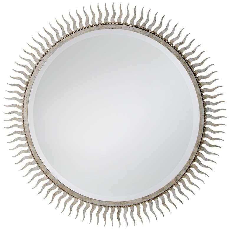"Eclipse Silver Leaf 40"" Oversized Sunburst Wall Mirror"