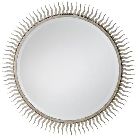 "Eclipse Silver Leaf 40"" Oversized Sunburst Wall Mirror"