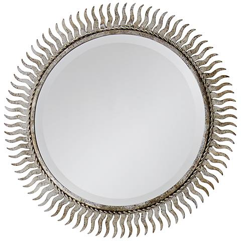"Eclipse Silver Leaf 13"" Sunburst Wall Mirror"
