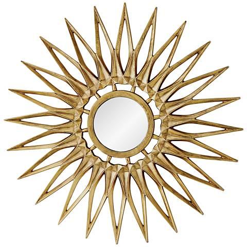 "Dahlia Brass 44"" Oversized Sunburst Wall Mirror"