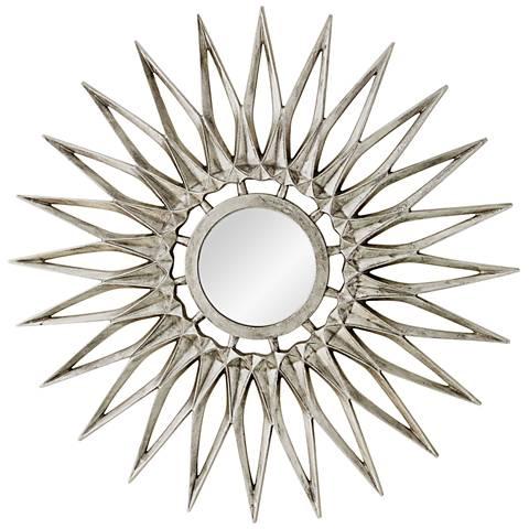 "Dahlia Nickel 44"" Oversized Sunburst Wall Mirror"