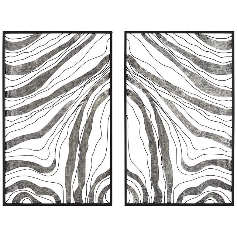 "Striped Symmetry 32"" High Metal Wall Art Set of 2"