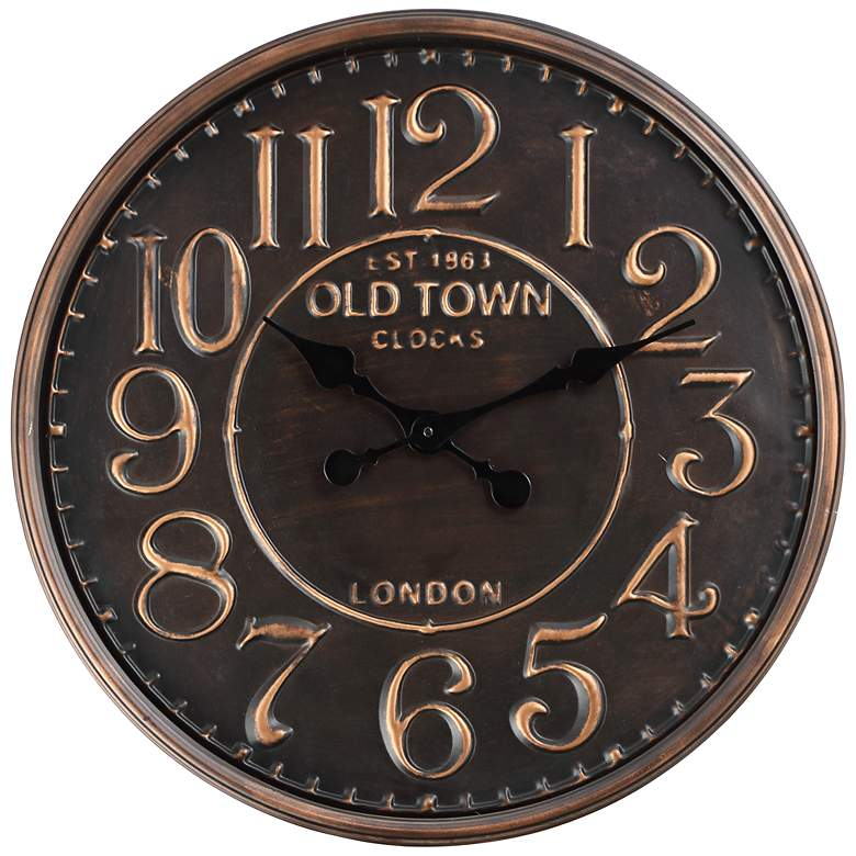 "1863 Old Town London 23 1/2"" Wide Rustic Vintage Wall Clock"