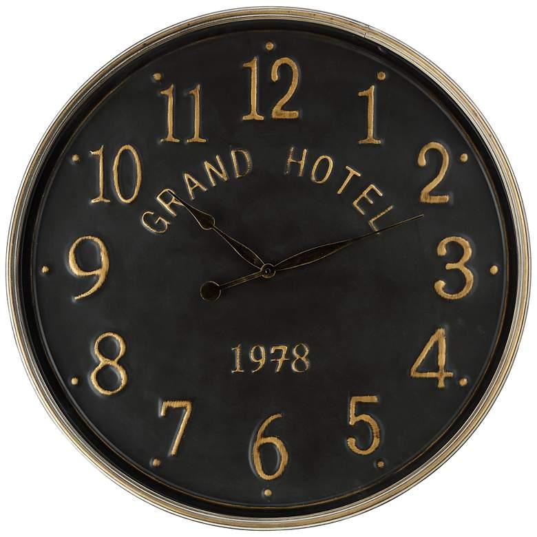 "Grand Hotel 1978 Black 28 1/4"" Round Wall Clock"