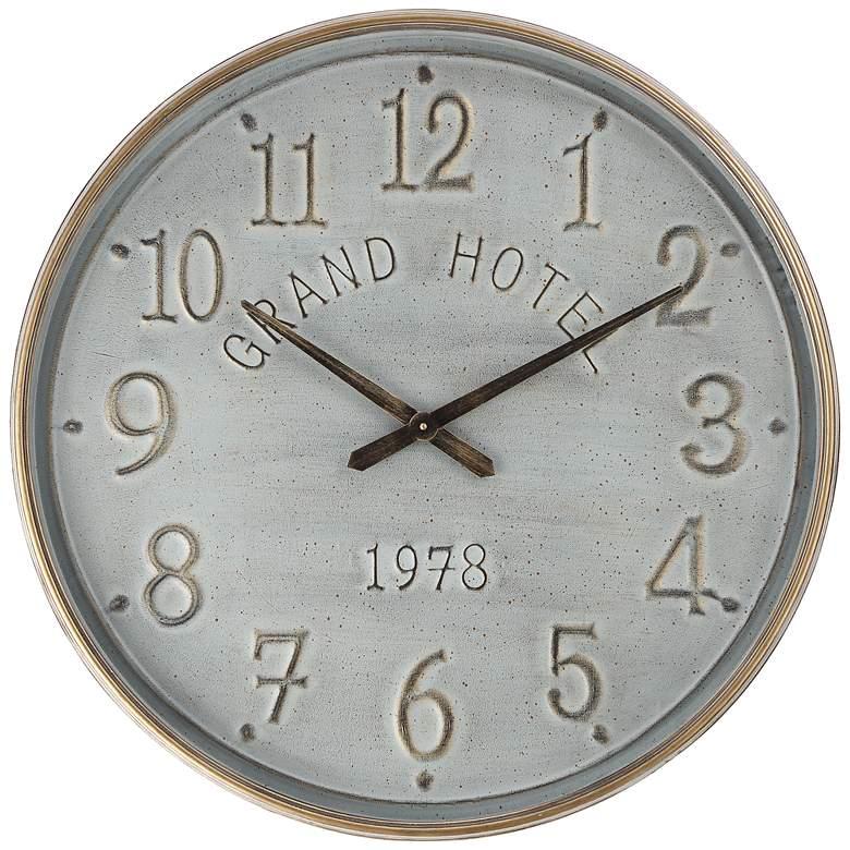 "Grand Hotel 1978 Gray 28 1/4"" Round Wall Clock"