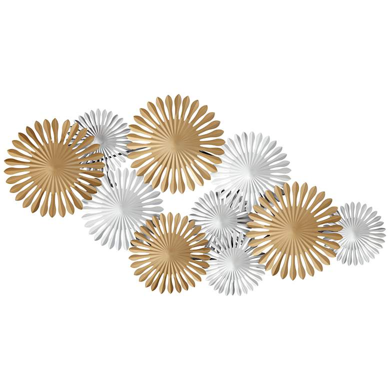 """Sparks 45"""" Wide Gold and Silver Metal Wall Art"""