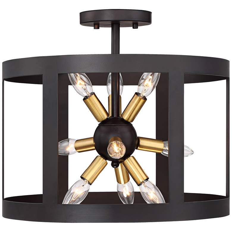 """Gervaise 16"""" Wide Forged Iron 9-Light Ceiling Light"""