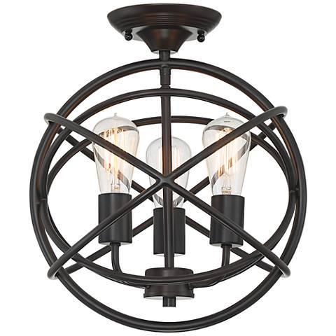 """Ellery 14"""" Wide Bronze Openwork 3-Light Ceiling Light"""