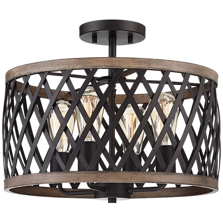 "Trey 16"" Wide Bronze and Woodgrain 4-Light Ceiling Light"