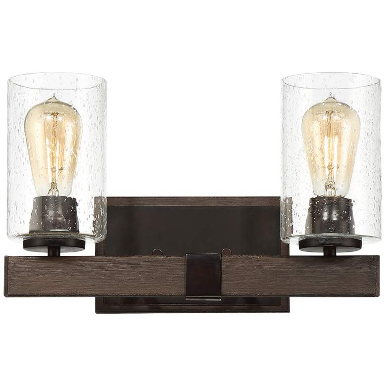 """Poetry 15"""" Wide Wood Grain 2-Light Wall Sconce"""