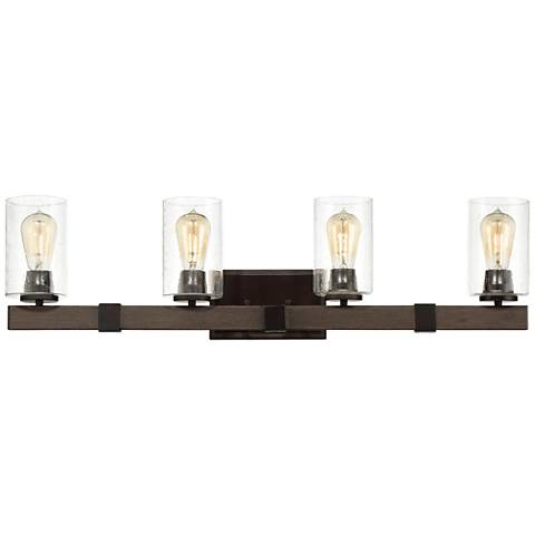 """Poetry Collection 33 3/4"""" Wide Wood Grain 4-Light Bath Light"""