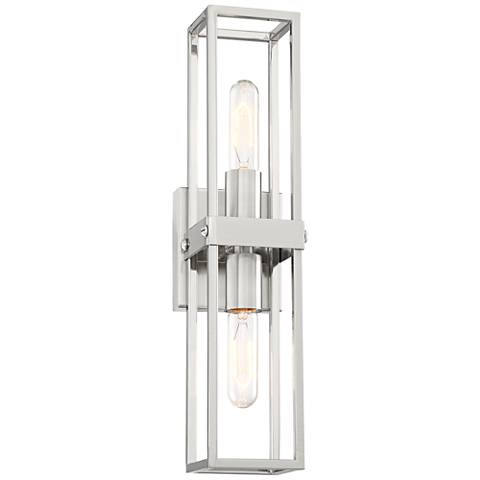 """Fabrian 18 3/4"""" High Brushed Nickel 2-Light Wall Sconce"""