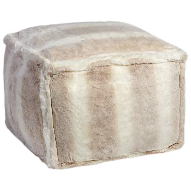 Zuni White Faux Fur Ottoman