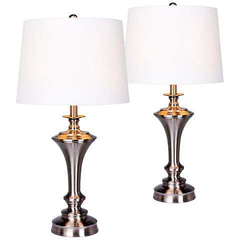 Callum Brushed Steel Tapered Urn Table Lamp Set of 2